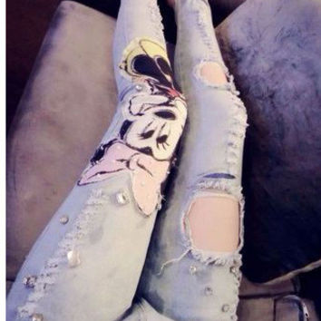 2014 New Stylish Summer Cartoon Character Mickey Mouse Beaded Long Pants Jeans with Holes Rrhinestone Woman GirlsM05737