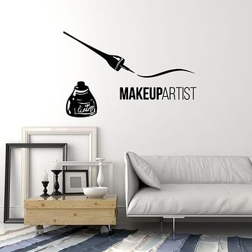 Vinyl Wall Decal Lettering EyeLiner Makeup Artist Woman Fashion Stickers Mural (g1648)