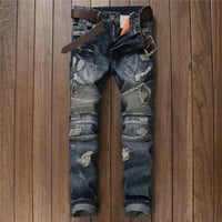 Men Ripped Holes Hot Sale Vintage Men's Fashion Jeans [9892501059]