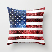 USA flag red & blue sparkles Throw Pillow by PLdesign