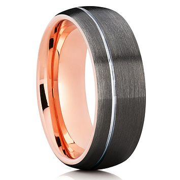 Grey Tungsten Ring - Gunmetal Band - Rose Gold Tungsten - Men's Band