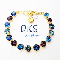 Blue Mystique, Swarovski 8mm Crystal Bracelet, Blue, Amethyst, Gold Setting, Adjustable, jewelry gifts, DKSJewelrydesigns, FREE SHIPPING
