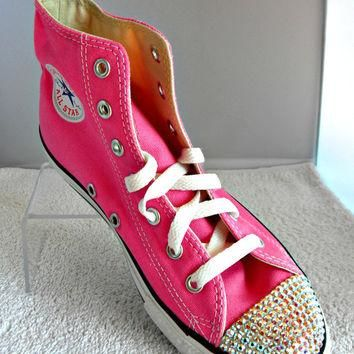 Glass Slippers Swarovski Crystal Pink Chuck Taylor Converse High Top All  Star Girls Yo 26a27998ce