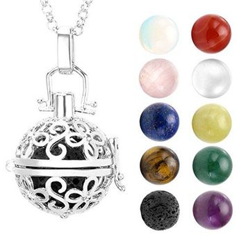 "SHIP BY USPS: JOVIVI Hollow Flower Locket Pendant With Natural 7 Chakras 16mm Ball Stones Reiki Healing Energy Beads 28"" Necklace Set w/Box"