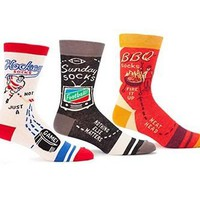 Hockey, Football and BBQ Funny Men's Sock Gift Set (3 Pairs)
