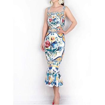 Spaghetti Strap Luxury Porcelain Print Silk Trumpet Sheath Mid-Calf Square Collar Midi Dress