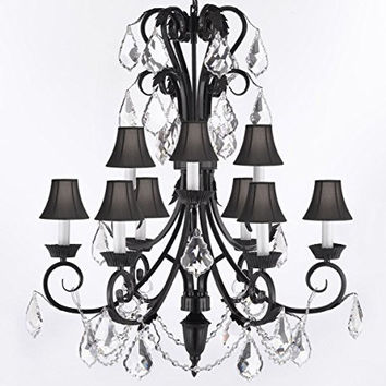 "Foyer / Entryway Wrought Iron Empress Crystal (TM) Chandelier 30"" Inches Tall With Crystal And Black Shades! H 30"" x W 26"" - A84-BLACKSHADES/B12/724/6+3"