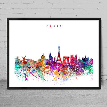 Paris Watercolor Print, France watercolor Art, Wall art, Paris Skyline, Cities Art, Wall Art, typography art, Paris Decor-x13