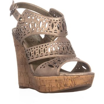 Guess Vannora Wedge Ankle Strap Wedge Heels, Light Beige, 9.5 US