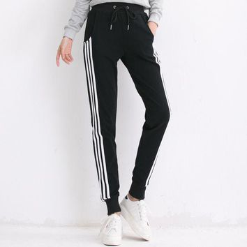 Long Pants Sweatpants Women Trousers Casual Comfortable Cotton Pants Joggers Tracksuit Ladies Striped Pants Wk004