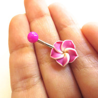 Magenta Hawaiian Flower Plumeria Belly Button Ring Hawaii Navel Stud Jewelry Bar Barbell Piercing Pink Tropical Hibiscus