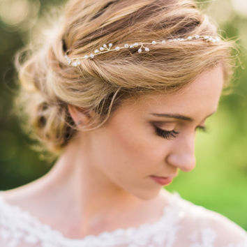 Bridal Gold Headband Pearl Headband Beaded Headband Pearl Headband Bridal Hair Wreath Bridal Hair Vine Pearl Hair Vine Wedding #153