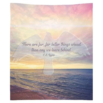 CS lewis Quote Tapestry Sky Purple Boho Wall Tapestry Hippy Yoga Meditation Mandala Wall Hanging Pink Sky