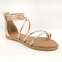 Women's Rosegold Sandal with Ankle Strap and Back Zipper