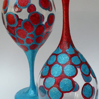 Wine Glass Pair Red and Turquoise Glitter by savardstudios on Etsy