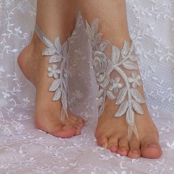 Gray silver frame beach wedding barefoot sandals