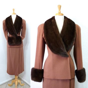 Vintage 50s Wool Suit Jacket and Skirt Set Mink Fur Collar and Cuffs 1950s Saks Fifth Avenue Safinia Exclusive