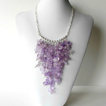 Ametrine Statement Necklace Cascading Purple by Rocktopolis