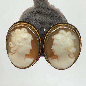 Vintage Jewelry Earrings / Antique Victorian Carved Shell Cameo / Edwardian 800 Silver Earrings / Antique Estate Jewelry / Wedding Earrings