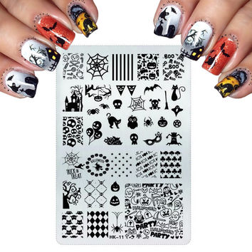 2016 Big Pretty Nail Stamping Plates Stainless Steel Stamping For Cats Halloween Skull Butterfly Flower Nail Art Templates