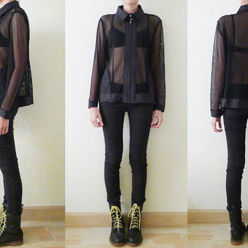 90s Black Fishnet Mesh MOTO Jacket,see through cardigan,long sleeve,sheer net Sweater Top,cover up,pockets,goth,grunge,athletic, punk, S-M-L