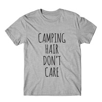 Camping Hair Don't Care Graphic Tshirt, Womens Graphic Tee, Womens Graphic Tshirt