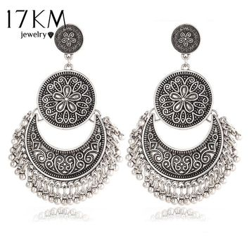 Bali Style Large Detailed Vintage Silver Pendant Earring with Floral Motif