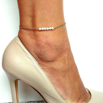 rose stone heart charm lisa in white gold anklet and angel real