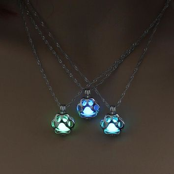 Glow in the Dark necklace Dog Paw silver Chain Jewelry