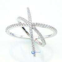 Crossover Fashion Ring CHRISTINA Signity CZ Pave Set Rhodium over Sterling Silver