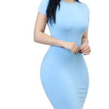 (A) Simple Round Neck Bodycon Dress