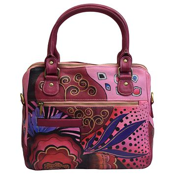 Womens Handpainted Leather Crossbody Shoulder Bag Purse Garden with Fruits Design