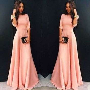 Womens Long Chiffon Long Sleeve Evening Formal Party Prom Ball Gown Maxi Dress Women Long Sleeve Dress Pink Black Blue