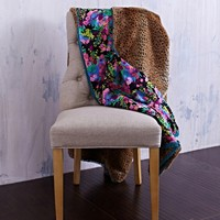 Jenny Faux Fur Throw | Deadstock Floral Fabric and Leopard