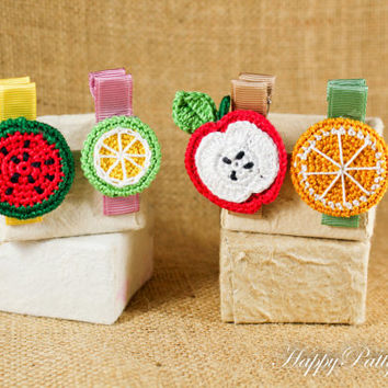Girl Hair Clips Set - Crochet Fruit Hair Accessory - Fruit Hair Clips - Toddler Hair Clips - Gift Idea - HC079