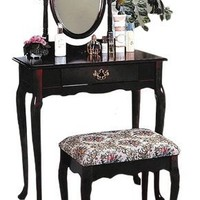 Cherry Wood Vanity with Table & Bench Set