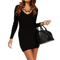 Black Fitted V Neck Sweater