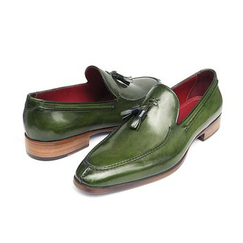 Paul Parkman Men's Tassel Loafer Green Hand Painted Leather Shoes (Id#083)