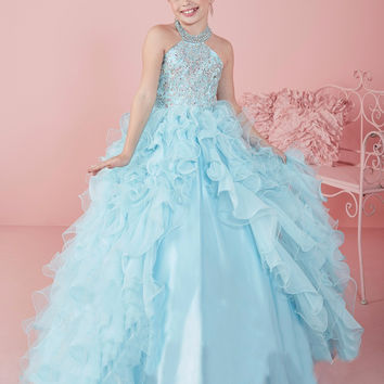 Aqua Halter Beaded Crystal Ball Gown Flower Girls Pageant Dresses Corset Ruffles Graduation Gowns Pleated Debutante Gowns P6276
