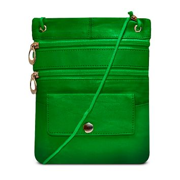 Genuine Leather Multi-Pocket Crossbody Purse Bag - Green