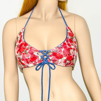 Reversible Lace-Up Corset Triangle Halter Bikini Top, Adjustable Peek-a-Boob Triangle Swimwear: Floral Red, Coral, Cream & Denim