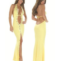 Yellow Stretch Micro Stripper Gown