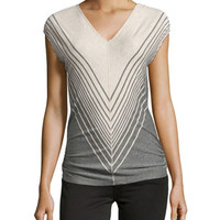 Broad-Stripe V-Neck Top, Heather Bone/Heather Steel