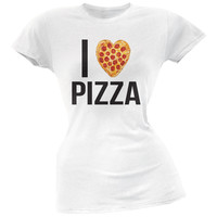 I Heart Pepperoni Pizza White Soft Juniors T-Shirt