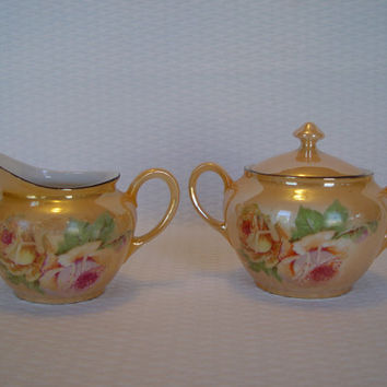 Vintage P.A.L.T. Czecho-Slovakia Porcelain Cream and Sugar, Iridescent, Cream and Sugar, Pearlescent