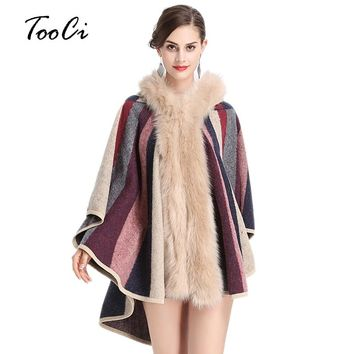 Faux Fox Fur Collar Hooded Cloak Coat Winter Fashion Knitted Cardigan Wool Cashmere Sweater Womens Capes and Ponchoes
