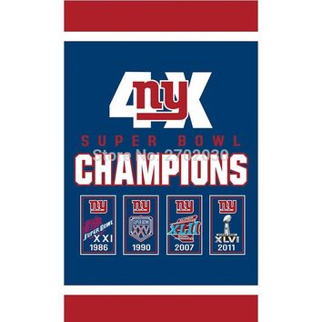 Hanging New York Giants Flag Banners Football Team Flags 3x5 Ft Super Bowl World Champions Banner Decoration 100D Polyester