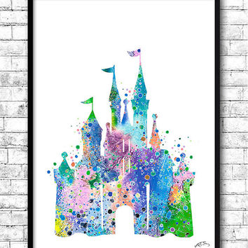 Disney Castle BUY Any 2, GET 1 FREE! Watercolor Print,Disney painting,Disney Castle print,Nursery art,Giclee wall,Children's birthday gift