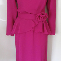 Vintage 80s Orchid Purple Dress Size 10 Peplum Belted Chiffon Layers Flower Accent