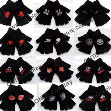 Cheap Fairy Tail Gloves Anime Print Plush Warm Mittens Naruto Cosplay Gloves Tokyo ghouls Attack on Titan Cartoon Glove